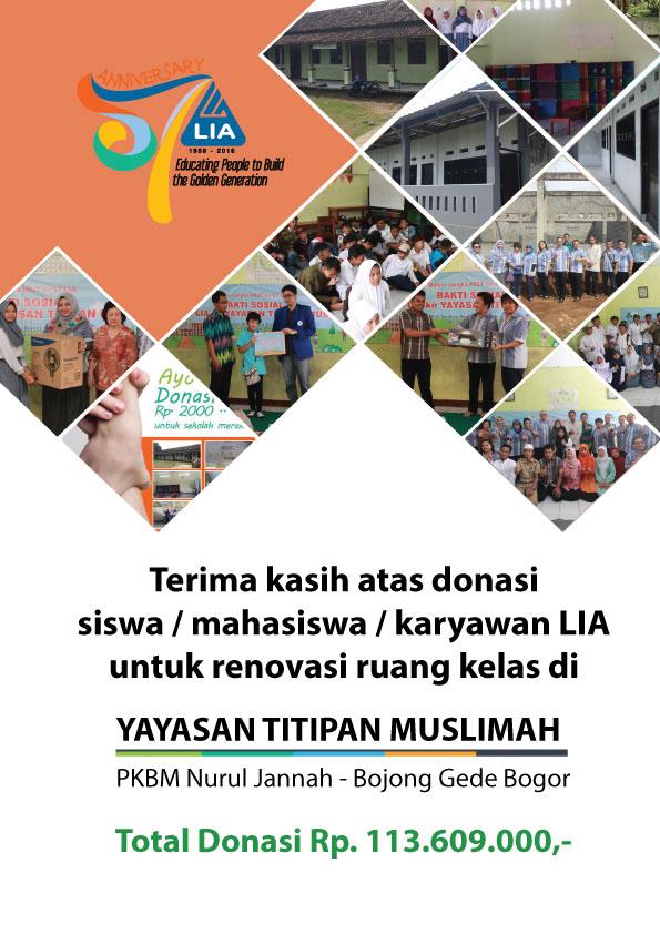 Laporan Donasi Siswa / Mahasiswa / Karyawan LIA Tahun 2016