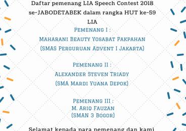Daftar Pemenang Speech Contest JABODETABEK 2018