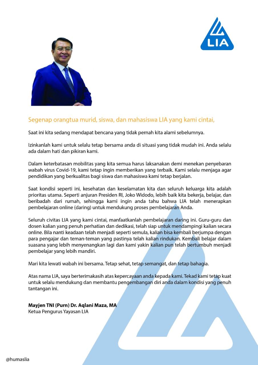 Sambutan dari Ketua Pengurus Yayasan LIA